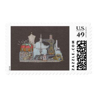 Hand Powered Sewing Machine Stamp