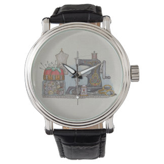 Hand Powered Sewing Machine Wrist Watch