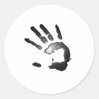 Hand Print Glow Round Sticker