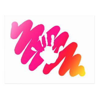 hand print postcard