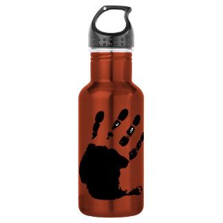 Hand print; yellow 18oz water bottle