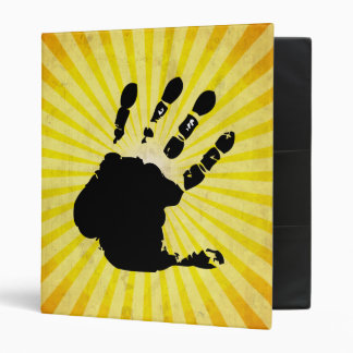 Hand print; yellow 3 ring binder