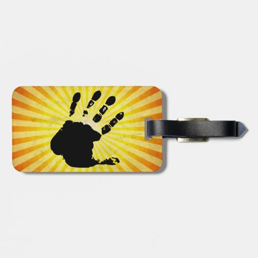 Hand print; yellow bag tag