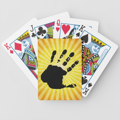 Hand print; yellow bicycle poker cards