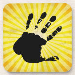Hand print; yellow coaster