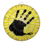 Hand print; yellow dart boards