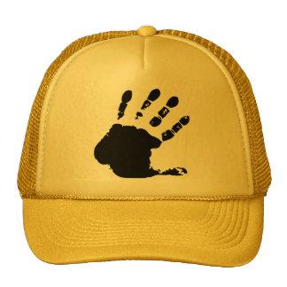 Hand print; yellow hat