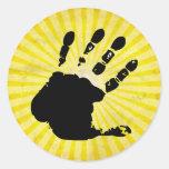 Hand print; yellow round stickers