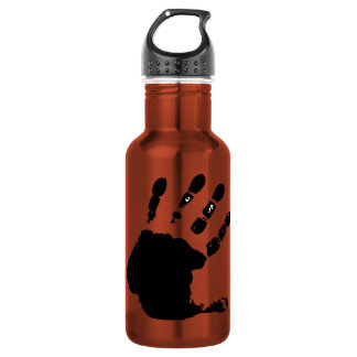 Hand print; yellow stainless steel water bottle