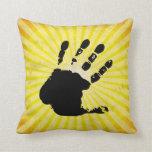 Hand print; yellow throw pillow