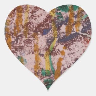 Hand Printed Design Heart Sticker