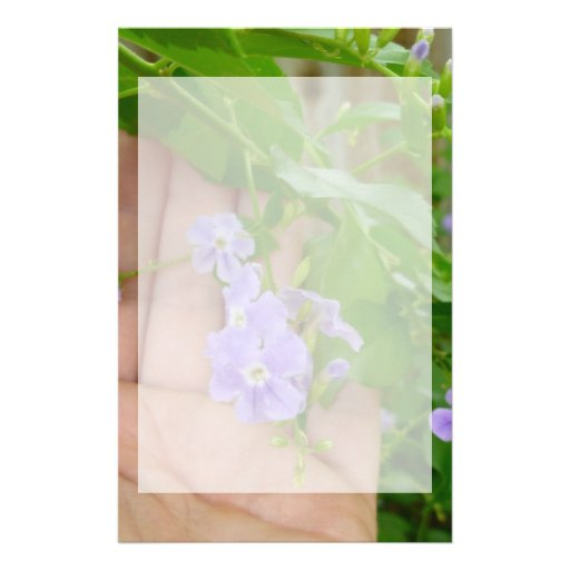 Hand, purple flowers, leaves personalized stationery