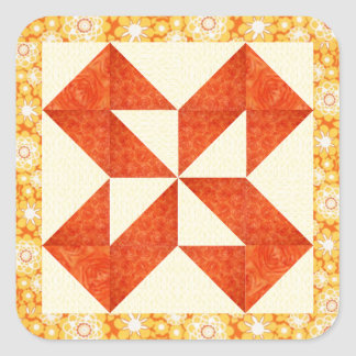 Hand Quilted Look Square Sticker