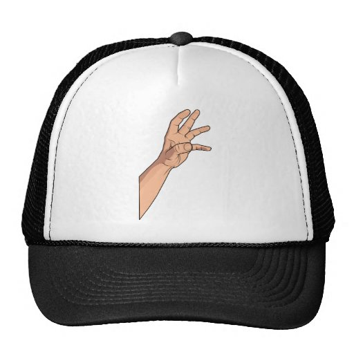 Hand Raised ~ Hand Sign and Gestures Trucker Hat