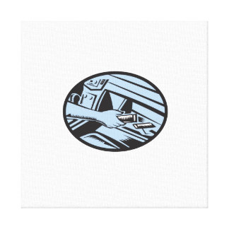 Hand Reaching in Glove Box for Energy Bar Oval Woo Canvas Print