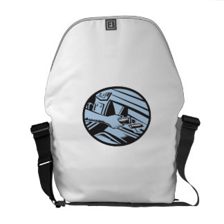 Hand Reaching in Glove Box for Energy Bar Oval Woo Messenger Bag