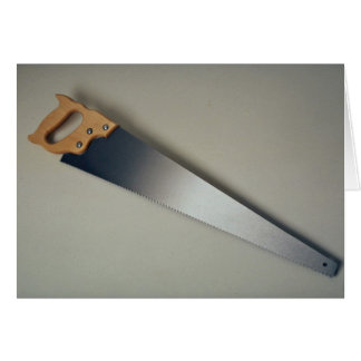 Hand saw tool to cut woods greeting card