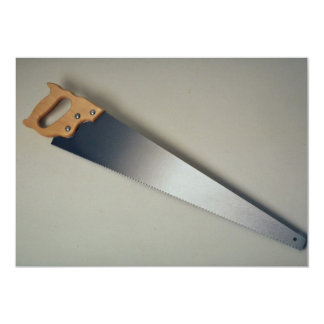 Hand saw tool to cut woods 5x7 paper invitation card