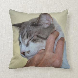 hand scratching kitten cute cat design throw pillow