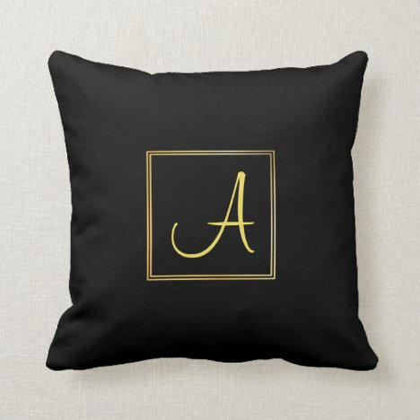 Hand Script Name Initial A Black Gold Monogram Throw Pillow
