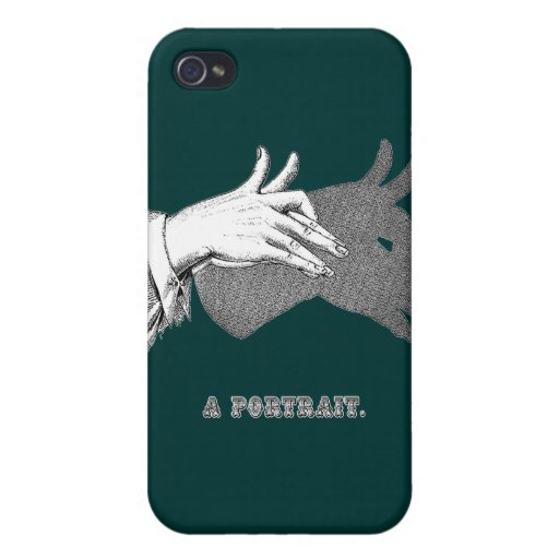 """Hand Shadow Art from an Antique Book """"Portrait"""" iPhone 4 Cover"""