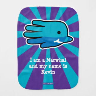 Hand Shaped Baby Narwhal Baby Burp Cloths