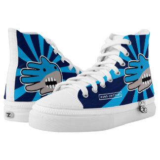 Hand Shaped Blue Shark mouth Printed Shoes
