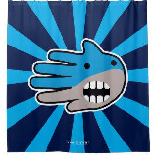 Hand Shaped Blue Shark mouth Shower Curtain