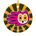 Hand shaped Hand Shaped Pink Owl Ceramic Ornament