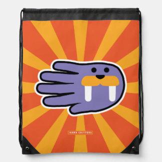 Hand Shaped Purple Walrus Tusks Drawstring Bag