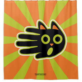 Hand Shaped Scared Black Cat Shower Curtain