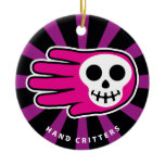 Hand shaped Hand Shaped Smiling Pink Skull Ceramic Ornament