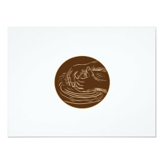Hand Shaping Pottery Clay Etching 6.5x8.75 Paper Invitation Card
