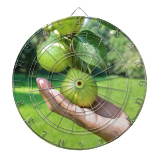 Hand showing branch with hanging green pears dart boards