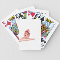 Hand showing model with inside of human kidney bicycle playing cards