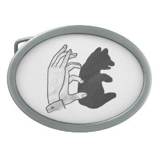 Hand Silhouette Bear Cub Oval Belt Buckle