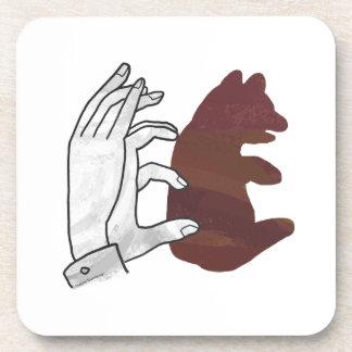 Hand Silhouette Bear Cub Brown Beverage Coaster