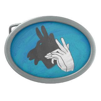 Hand Silhouette Billy Goat Blue Belt Buckle