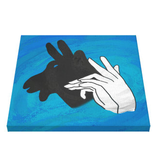 Hand Silhouette Billy Goat Blue Canvas Print