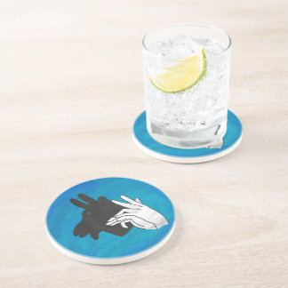 Hand Silhouette Billy Goat Blue Drink Coasters