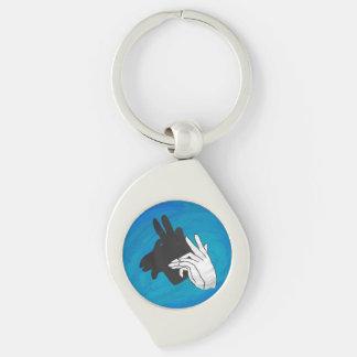 Hand Silhouette Billy Goat Blue Keychain