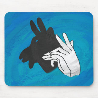 Hand Silhouette Billy Goat Blue Mouse Pad