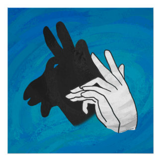 Hand Silhouette Billy Goat Blue Poster