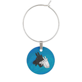 Hand Silhouette Billy Goat Blue Wine Glass Charm