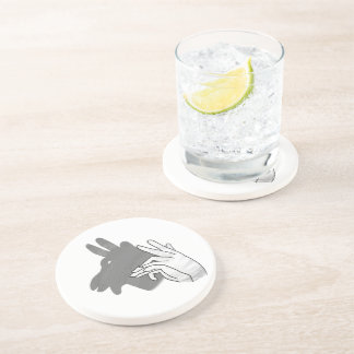 Hand Silhouette Billy Goat Gray Coaster
