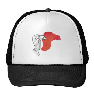 Hand Silhouette Camel Red Hats
