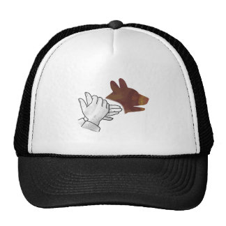 Hand Silhouette Dog Brown Hats