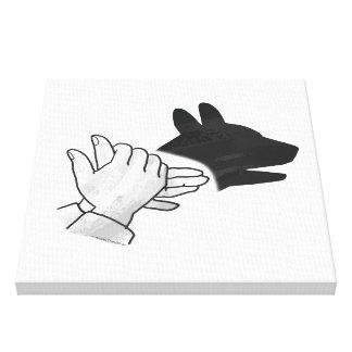 Hand Silhouette Dog Canvas Print