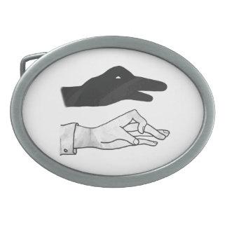 Hand Silhouette Duck Oval Belt Buckle