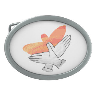 Hand Silhouette Eagle Orange Belt Buckle